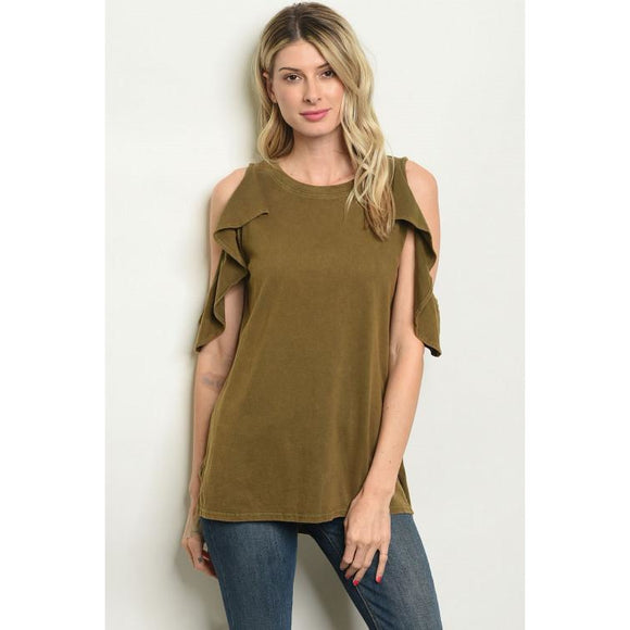 Twix ~ Ruffled Cold Shoulder Top - Sugar Honey Doll Boutique