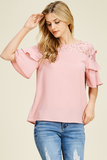 Bubble Gum~Ruffle & Lace Sleeve Blouse