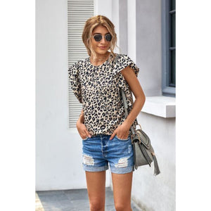 Ruffled Leopard Top - Sugar Honey Doll Boutique