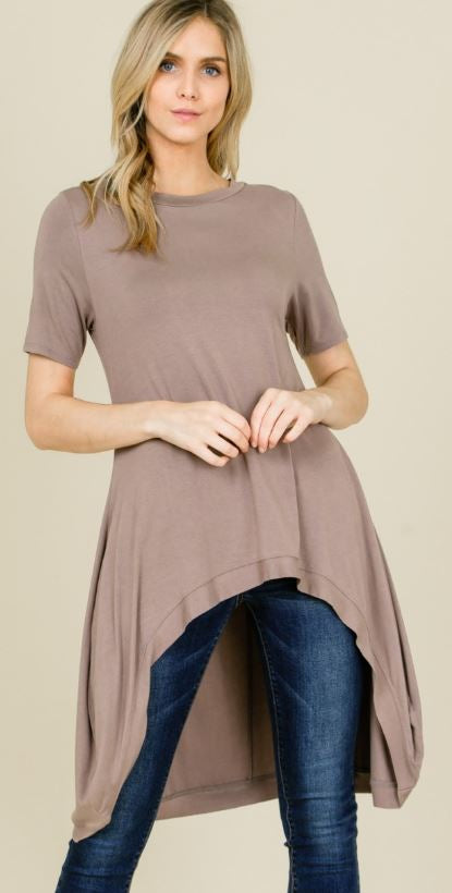 3 Musketeers ~ Loose Fit Round Neck Hi/Lo Midi Tunic Top