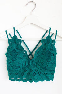 Sweetheart Lace Bralette - Teal Green - Sugar Honey Doll Boutique
