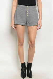 Mid-Rise Checkered Shorts - Black & White
