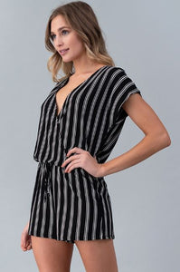 Striped Candy ~ Striped Romper (Red or Black)