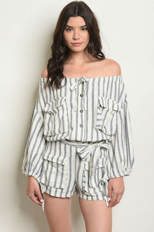 Take 5 ~ Striped Off The Shoulder Linen Romper