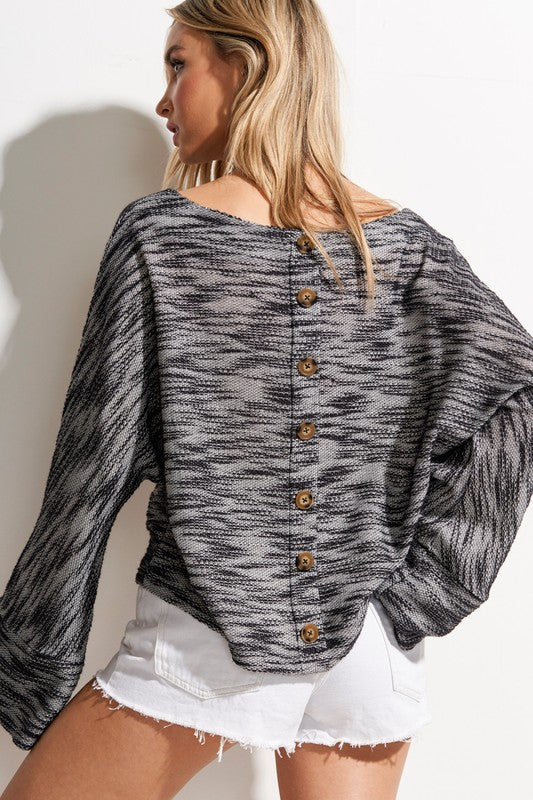 Button Back Boat Neck Sweater