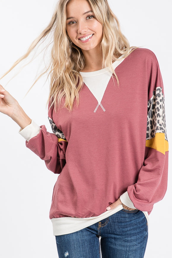 Cozy Leopard Sleeve Color Block Sweatshirt-Marsala