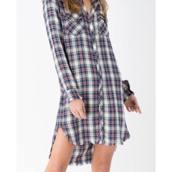 Plaid Shirt Dress W/ Frayed Hem