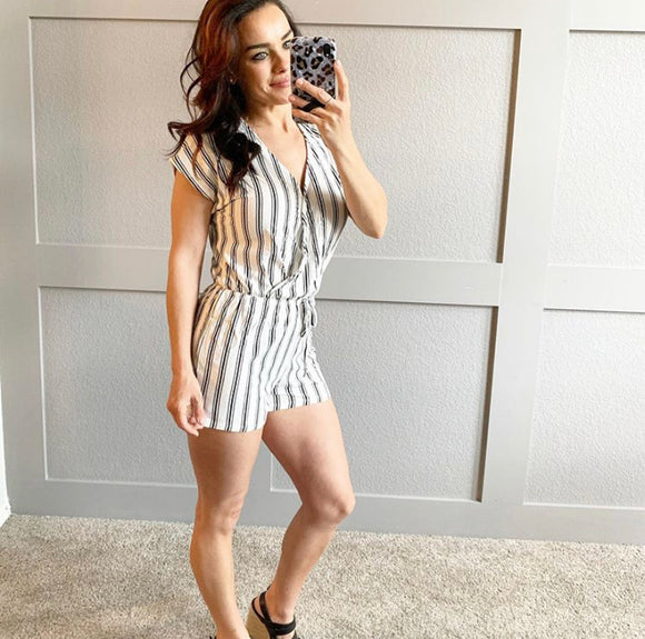 Striped Candy ~ Striped Romper (White, Red or Black)