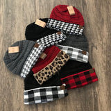 Buffalo Plaid CC Beanie W/Out Ponytail Hole (More Colors) - Sugar Honey Doll Boutique