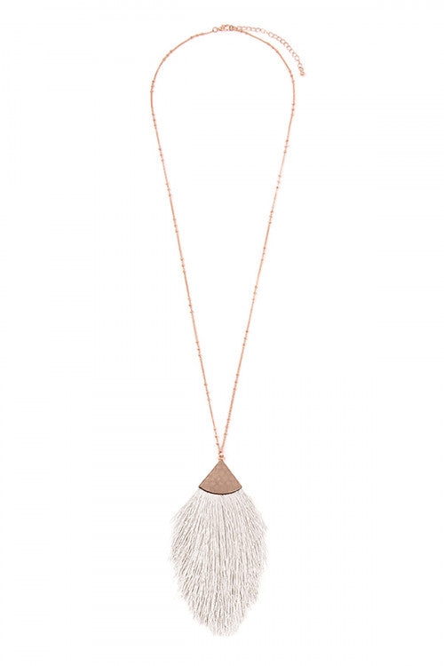 Oversized Rain-Drop Tassel Necklace-Off White/Ivory