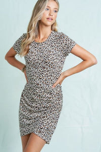 Blissful Days Rushed T-Shirt Dress - Leopard Print
