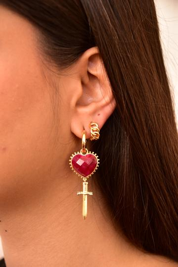 Mountain & Moon Juliet Heart Dagger Earrings // Ruby