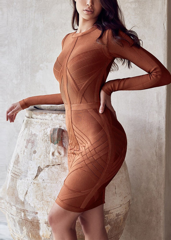'Arista' Brown Bandage Dress