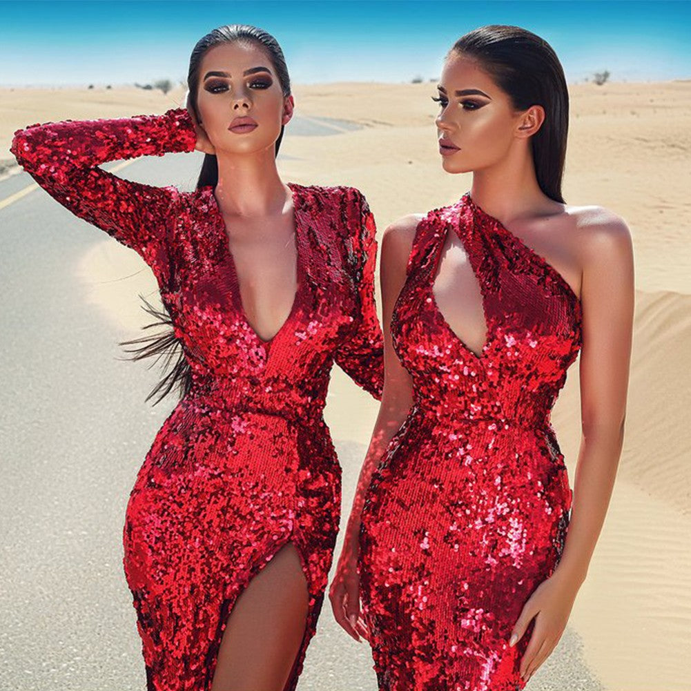 Red Dress with Sequin Sleeves