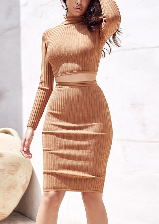 'Grazia' Tan Bandage 2 Piece Dress
