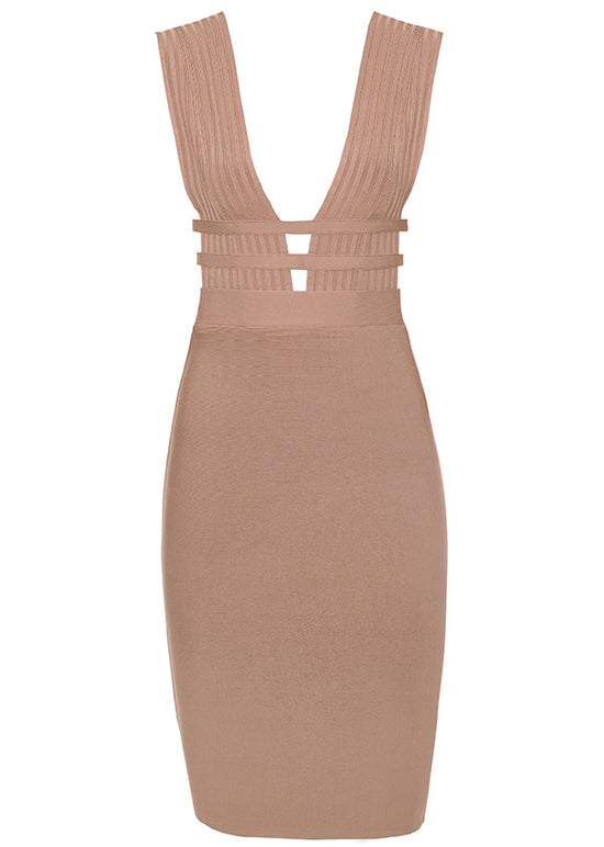 'Aden' Camel Deep Plunge Bandage Dress
