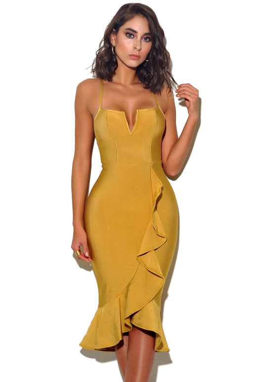'On My Mind' Strappy Bandage Dress With Ruffles