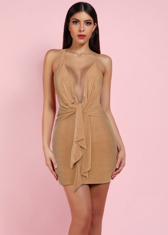 'Kiko' Tan Draped Mini Dress