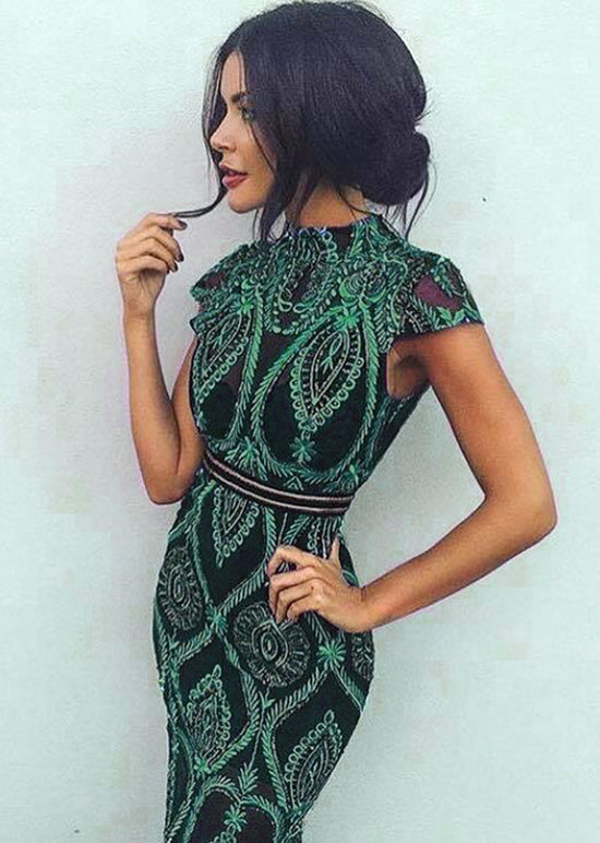 'Ankara' Emerald Sequin Mini Dress