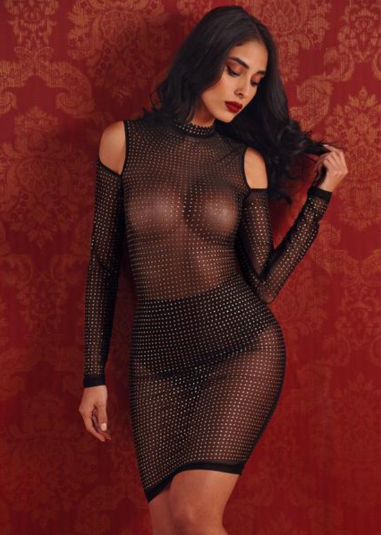 'Desiree' Diamonds and Mesh Dress