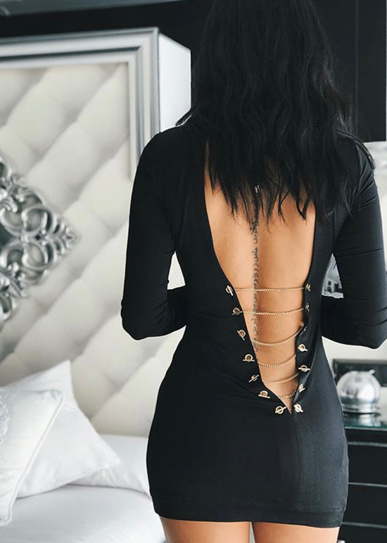 'Jacopa' Black Backless Bandage Dress