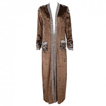 'Rydia' Brown Velvet Full Length Duster