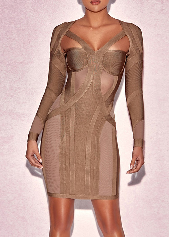 'Liana' Beige Bandage Dress
