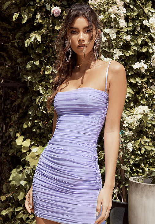 'Bastina' Lilac Mesh Mini Dress
