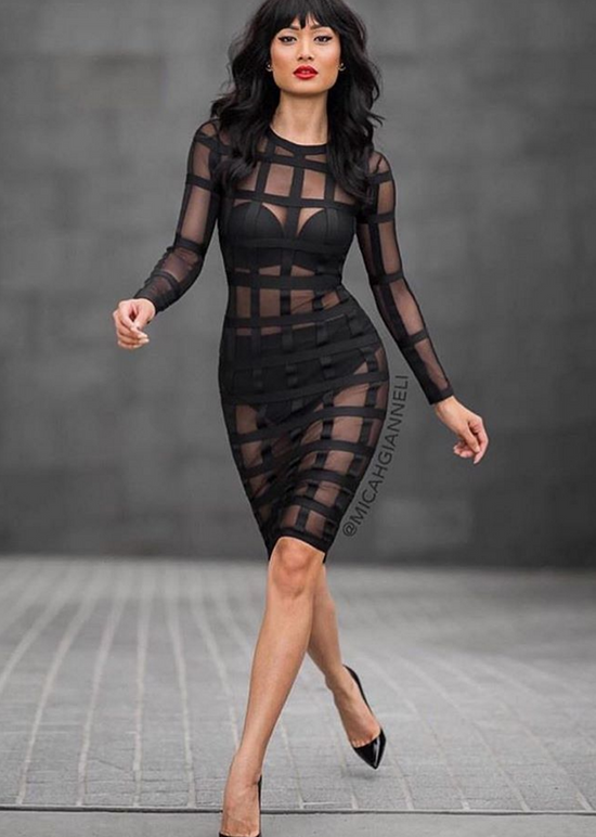 'Sara' Black & Mesh Bandage Dress