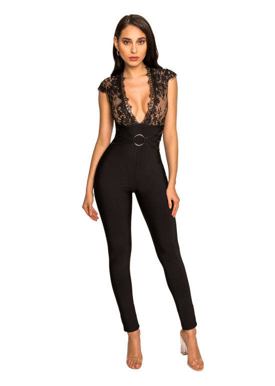 'Xylia' Deep V Lace Detail Black Bandage Jumpsuit