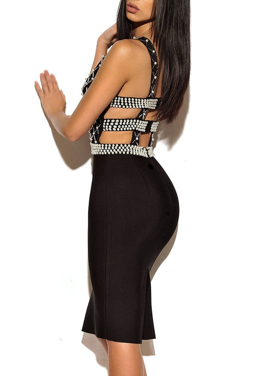 'Samyra' Black Bandage Dress