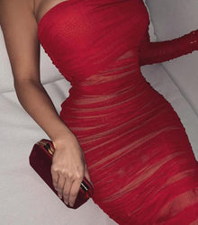 'Mabel' Red Metal Dress