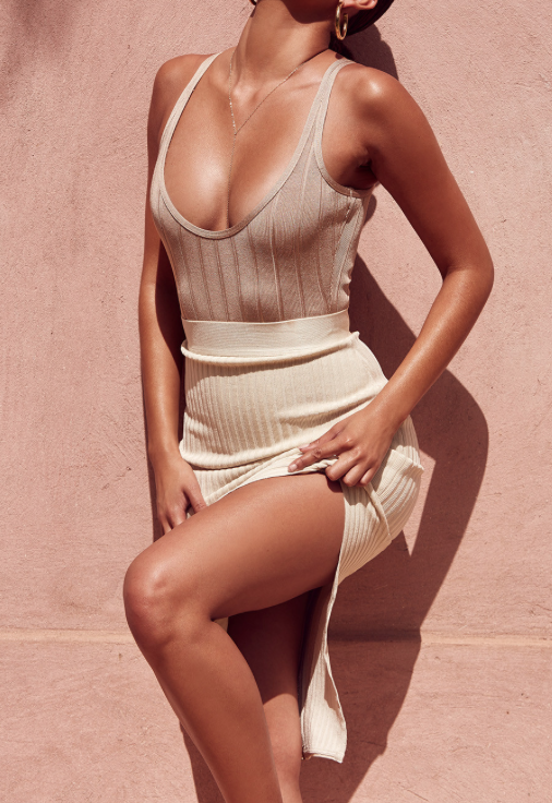 'Valeria' Nude Bandage Two Piece