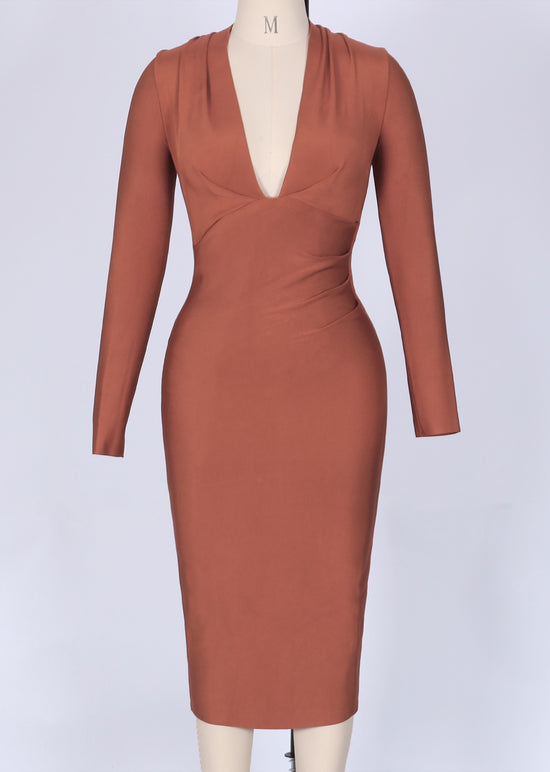 'Anna' Tan Draped Bandage Dress