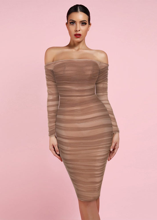 'Freya' Chestnut Tulle Off Shoulder Midi Dress