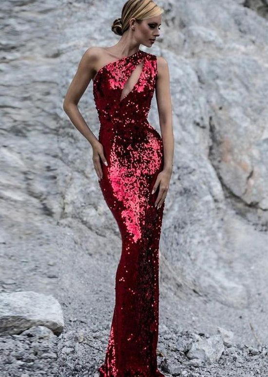'Edith' One Shoulder Sequin Red Dress