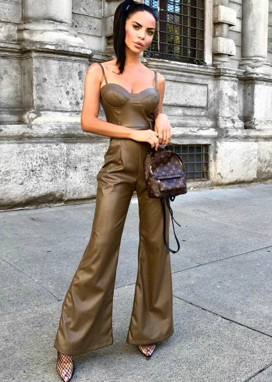 'Lori' Green Vegan Leather Jumpsuit