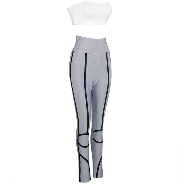 'Jhena' Grey Bandage Legging + White Crop Top Set