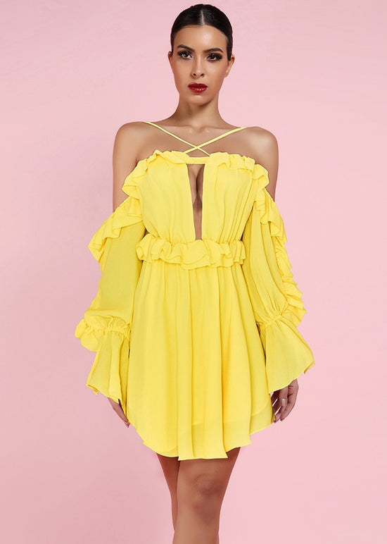 'Benni' Yellow Off Shoulder Ruffled Mini Dress