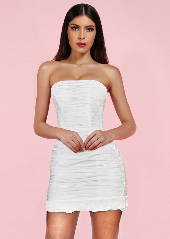 'Anevay' White Bodycon Ruffled Mini Dress