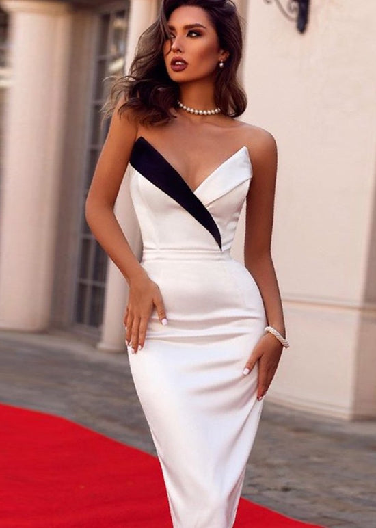 'Chantelle' Midi Bustier White Bandage Dress