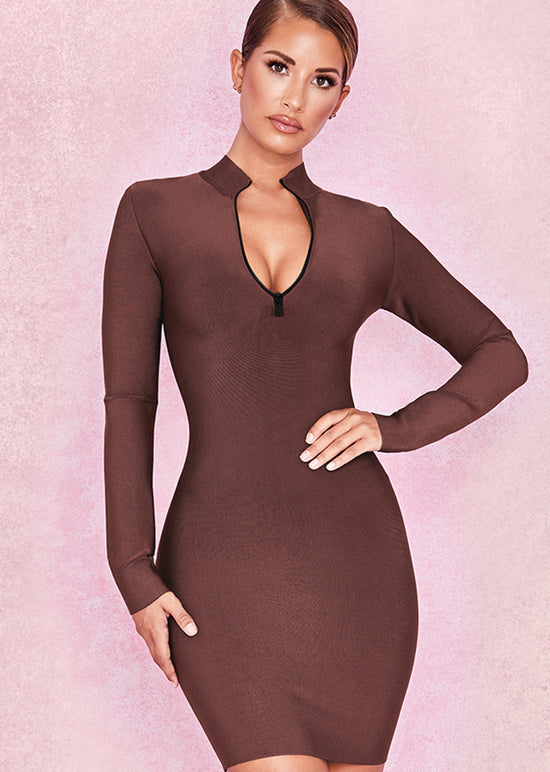 'Melissa' Brown Zip Front Bandage Dress