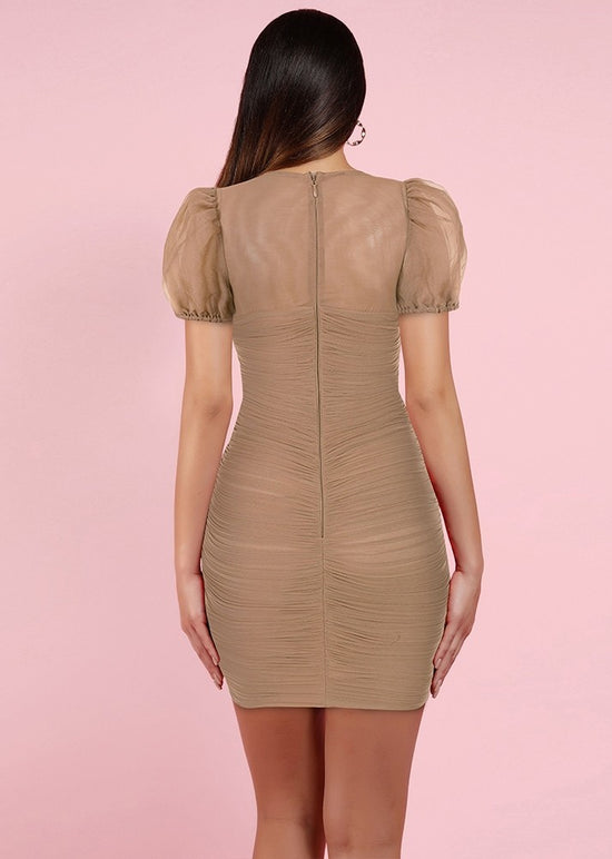 'Francoise' Tan Puff Sleeve Ruched Dress