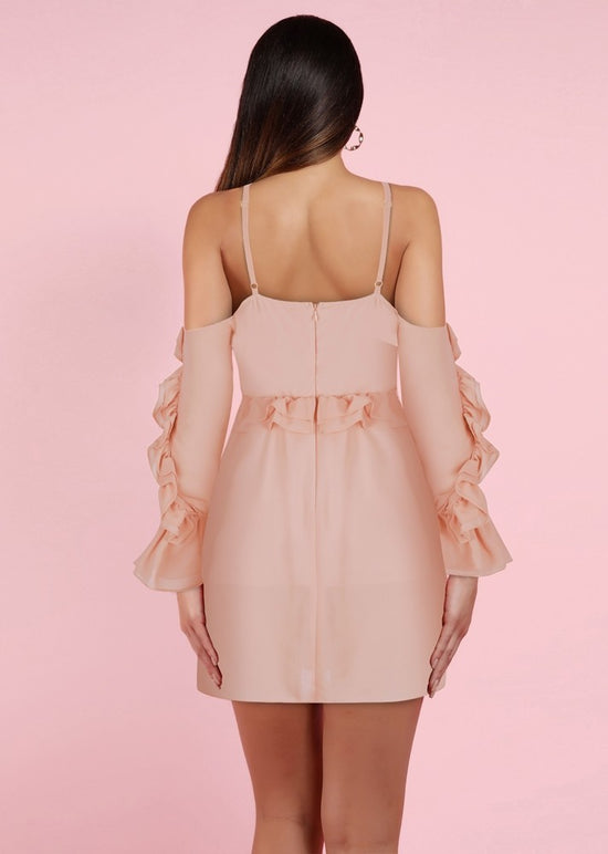 'Benni' Blush Off Shoulder Ruffled Mini Dress