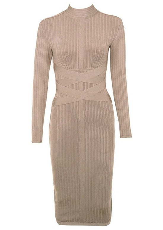 'Charlotte' Mink Cross Strap Ribbed Bandage Dress