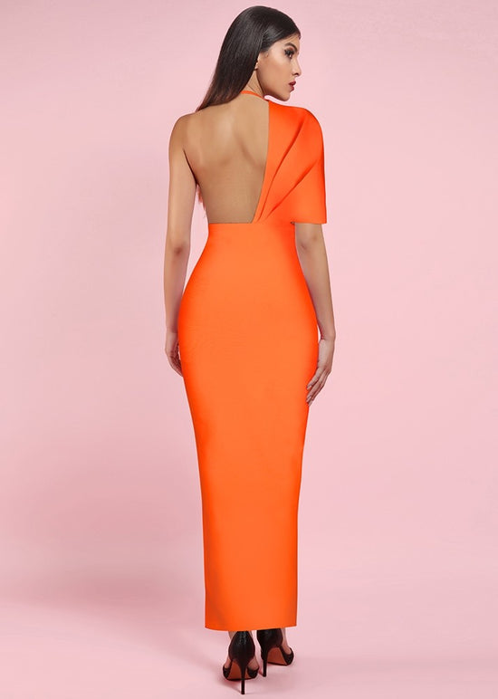 'Belong To You' Orange Bandage Draped Maxi Dress
