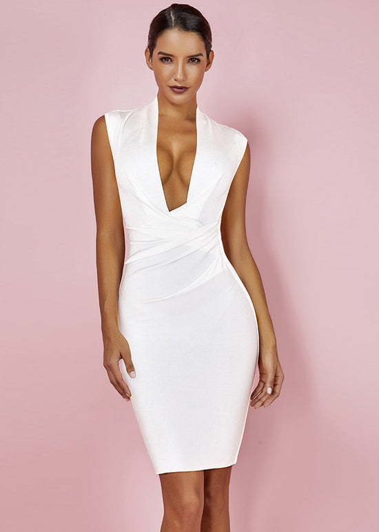 'Avra' White Sleeveless Draped Bandage Dress