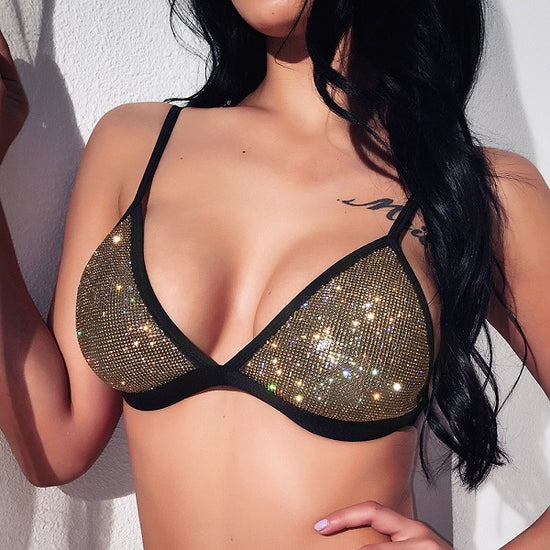 'Katt' Black & Gold Beaded Bikini