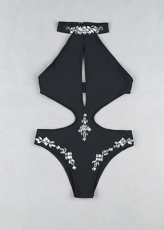 'Holly' Diamond Black Bandage Monokini