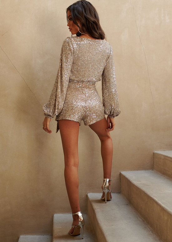 'Fly Away' Silver Sequin Top + Shorts Set
